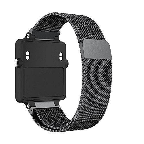 Magiyard - Cinturino per orologio Garmin VivoActive HR, in acciaio inox nero Nero  225mm