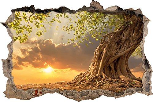 Baum im Sonnenuntergang Wanddurchbruch im 3D-Look, Wand- oder Türaufkleber Format: 62x42cm, Wandsticker, Wandtattoo, Wanddekoration (Ostern Rasen Dekorationen)