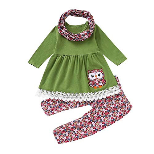 (Children Kids Girls Cartoon Embroider Owl Dress+Floral Pants+Scarf Set Outfit)