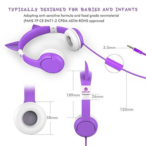 iClever IC-HS08 Boostcare Cuffie per Bambini Gatto Headset con Tecnologia Limita Volume, Colore Viola Gatto,Viola