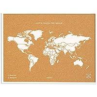 Miss Wood Map L Mapa del Mundo de Corcho con Marco, Blanco, 48 x 63 cm