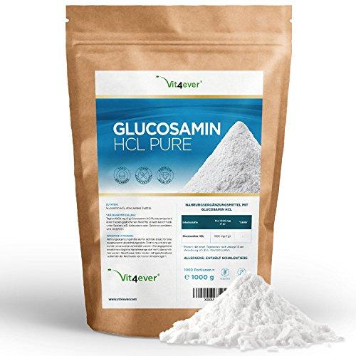 Glucosamin HCL Pure - 1000 g reines Pulver ohne Zusätze - Laborgeprüft - Hohe Reinheit & Hochdosiert- 1000 Portionen - Premium Qualität - Vit4ever