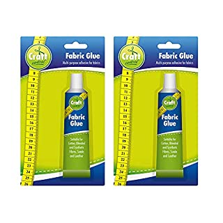 2pk Fabric Glue by Craft Central | Extra Strong & Large 50ml Clear Fabric Glue for Clothes, Fabrics & Textiles | No More Needle and Thread as Now You Can Sew in Seconds