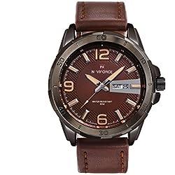 NAVIFORCE Genuine Leather Men Luxury Quartz Waterproof Sports Watch (Brown)