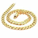 Beydodo Vergoldet 18K Gold Herren Halskette mit Schließe Gold Kette 51cm Länge