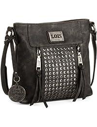 LOIS - 93144 Bolso de mujer bandolera ajustable. Dos bolsillos delante, uno detrás y uno interior con cremallera. Llavero y remaches. Piel sintética polipiel