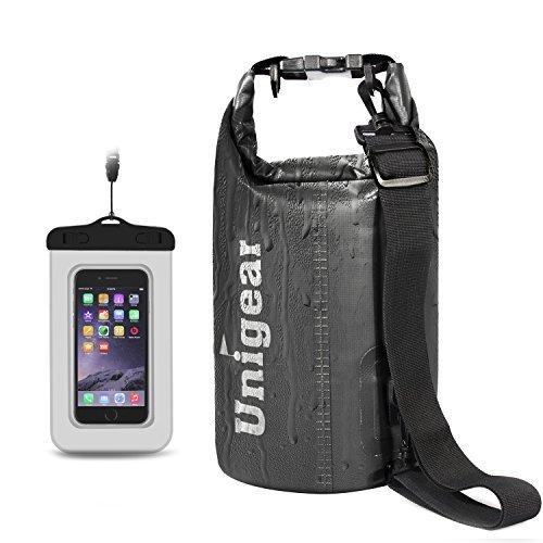 Unigear Dry Bag, 2L/5L/10L/20L/30L/40L, wasserdicht Taschen mit Handytasche und Gurte für Boot und Kajak, Angeln, Rafting, Schwimmen, Camping und Snowboarden, MEHRWEG -