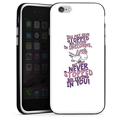 Apple iPhone X Silikon Hülle Case Schutzhülle Einhorn Unicorn Sprüche Silikon Case schwarz / weiß
