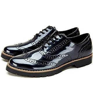 ANJOUFEMME Elegante Derby Oxford Schnürschuhe für Damen Brogues Schuhe, Wahl für Arbeit und Alltag Wir Empfehlen Ihnen, Eine Nummer Größer als üblich zu Kaufen YKM001-BLACK-39