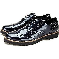 Zapatos de Cordones Oxford Derby para Mujer - Zapatos Brogue Mujer Negro, Zapatos Casual Mujer de Cuero Artificial, Apto para Todas Las Estaciones YKM001-BLACK-39