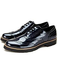 Zapatos de Casual Brogue Oxford para Mujer - AnjouFemme Zapatos Cordones Derby Mujer Vintage de Cuero Artificial, La Mejor Opción para El Trabajo y La Vida Cotidiana