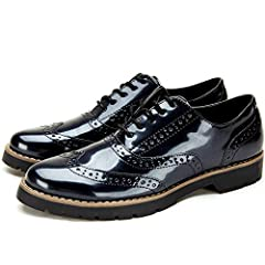 Idea Regalo - Scarpe Stringate Oxford Derby Donna - Scarpe Brogue Donna in Pelle Artificiale, Scarpe Basse Nere Donna, Adatto a Tutte Le Stagioni YKM001-BLACK-37