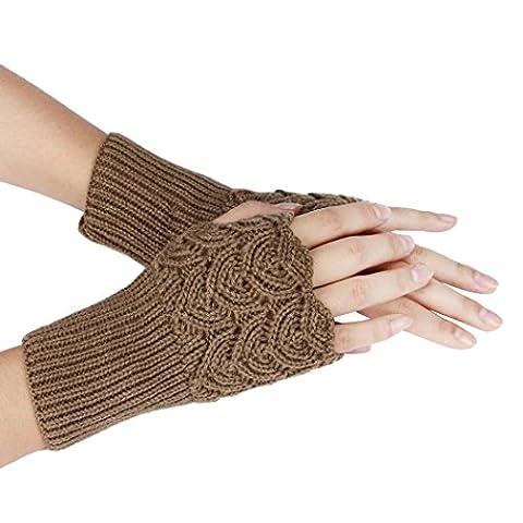 Saingace gloves Frauen-warme Winter-Kurz Absatz Stricken Halbfingerlose Handschuhe (Khaki)