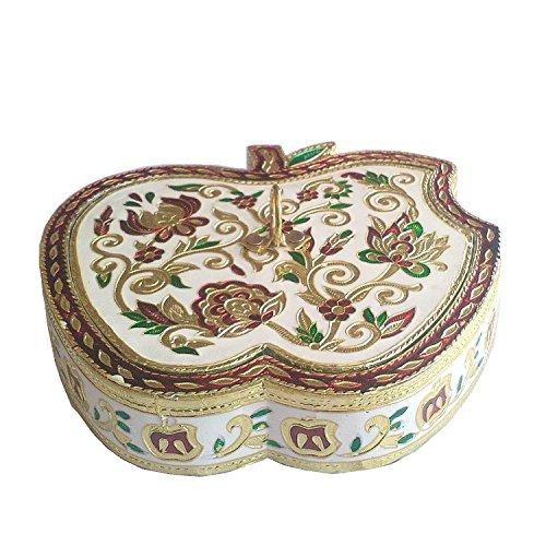 Aluminium-dry Box (Die Hue Cottage Deko Box Meenakari Platte Dry Fruit Box Aluminium Material Apple Form Geschenk Stück Indian Home Decor)