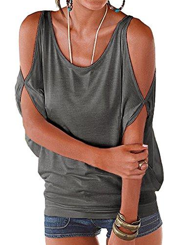 MEXI Damen Fashion Kalte Schulter T-Shirt Lose Tops 11 Farben Style 03-Grau