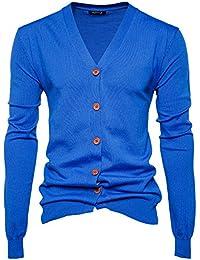 Herren Strickjacke Cardigan Grobstrick mit V-Ausschnitt Samt Knopfleiste  Slim Fit Outwear 770987c2dd