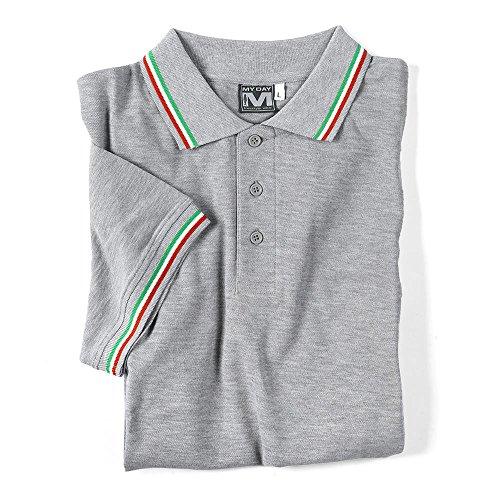 "Kult-Polo ""Italia"" kurzarm/NEU/MYDAY/tricolore/Polo-Shirt/kultig Grau"