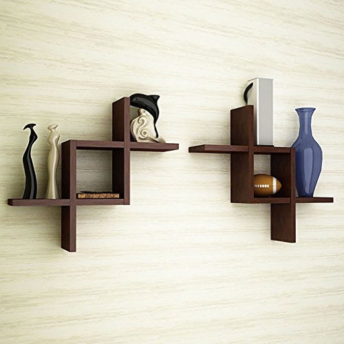 Brown Wooden Wall Shelf Set Of Two/ Wall Shelves