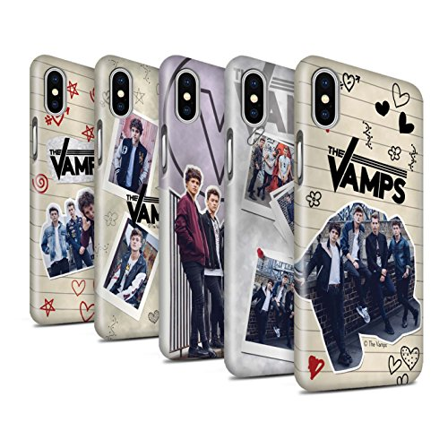 Offiziell The Vamps Hülle / Glanz Snap-On Case für Apple iPhone X/10 / Rot Stift Muster / The Vamps Doodle Buch Kollektion Pack 5Pcs