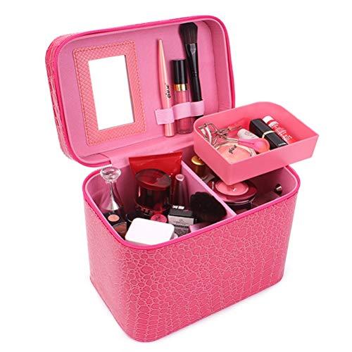 Malette maquillage Beauty case portable avec voyage en miroir boîte de rangement à cosmétiques,Pink