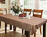 #9: Kuber Industries™ Dining Table Cover Brown Cloth Net For 6 Seater 60*90 Inches (Self Design)