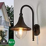 Lampenwelt Wandleuchte außen 'Daphne' (spritzwassergeschützt) (Retro, Vintage, Antik) in Braun aus Aluminium (1 flammig, E27, A++) | Außenwandleuchten Wandlampe, Led Außenlampe, Outdoor Wandlampe für
