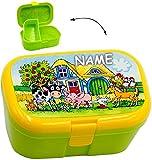 alles-meine.de GmbH Lunchbox / Brotdose -  Bauernhof & Tiere  - Incl. Name - mit Extra Einsatz /..