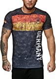 John Kayna Deutschland T-Shirt Herren Schwarz Adler Men Germany Tee Shirt WM 18 World Cup (3XL)