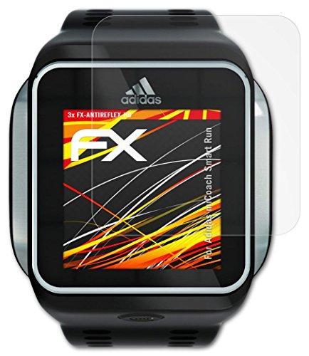 Adidas miCoach Smart Run Displayschutzfolie - 3 x atFoliX FX-Antireflex-HD hochauflösende entspiegelnde...