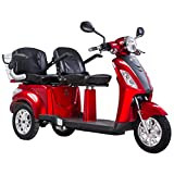 Electric Mobility Scooter for Two Double Seat ZT-18 1000W Two Storage Compartments (RED)