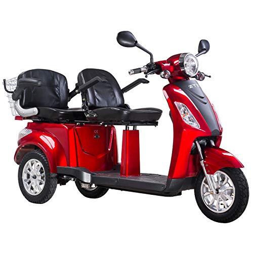 Lunex Elektromobil für Zwei Doppelsitz Seniorenmobil ZT-18 1000W Zwei Aufbewahrungsfächer (ROT)