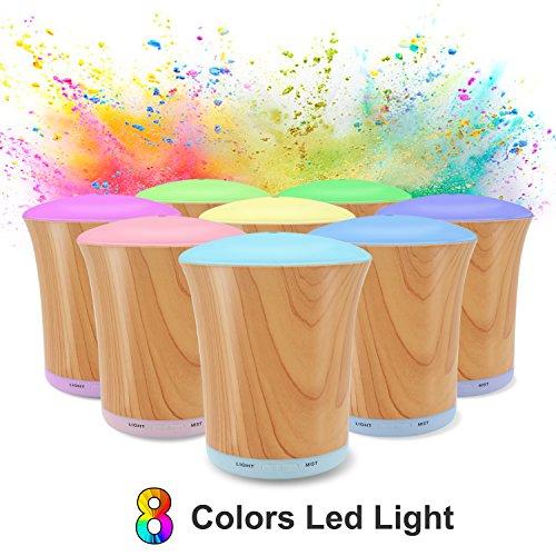Aroma Diffuser, 200ml LUSCREAL Luftbefeuchter Diffusor Aromatherapie Holzmaserung LED mit 8 Farben, Einstellbarem Nebelmodus und Automatischer Abschaltung.