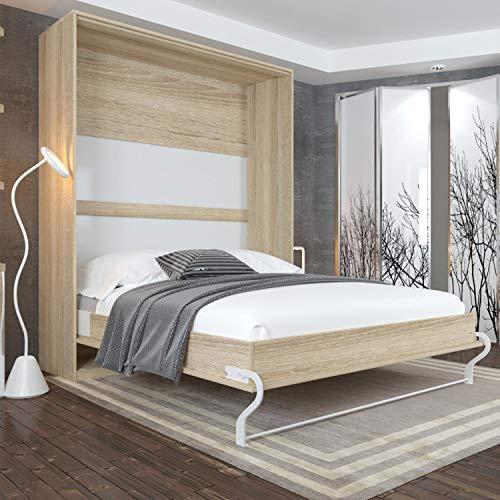 Schrankbett 160 x200 Vertikal Eiche Sonoma mit Gasdruckfedern, ideal als Gästebett - Wandbett, Schrank mit integriertem Klappbett, Schrankklappbett & Wandbett, SMARTBett