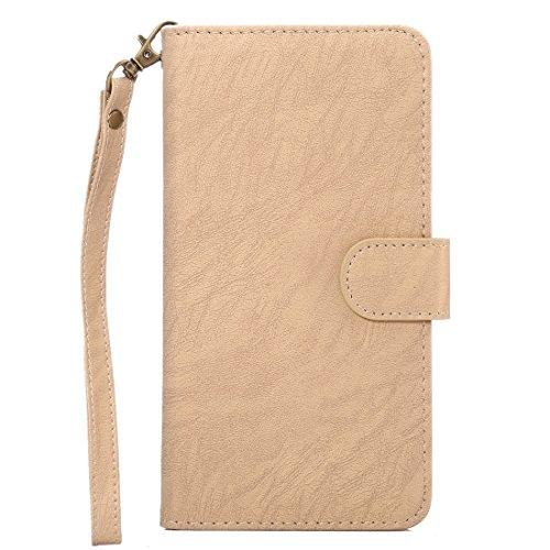 GHC Cases & Covers, A2 Universal Da Vinci Textur Horizontale Flip Ledertasche mit Crad Slots & Brieftasche & Foto Frame & Magnetic Gürtelschnalle & 18cm Lanyard für iPhone 7 Plus & 6s Plus & 6 Plus, S Gold