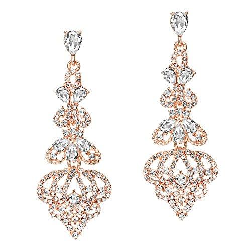 Coucoland 1920s Ohrringe Damen Retro Stil Perlen Dangle Ohrringe Inspiriert von Great Gatsby Damen Kostüm Accessoires (Stil 1-Rose - Kostüm Ohrringe