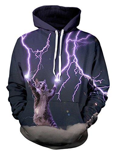 puzen Sweater Top für Männer und Frauen mit Warm Hoody Lustige Grafik Printed Jacke Beleuchtung Katze L / XL (Kleidung Mit Beleuchtung)