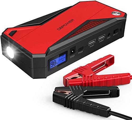 DBPOWER Auto Starthilfe Powerbank 18000mAh 800A(bis zu 7,2L Benzin 5,5L Dieselmotor) Tragbarer Batterie Booster mit Intelligentem Ladeanschluss, Kompass, LCD-Bildschirm und LED-Taschenlampe