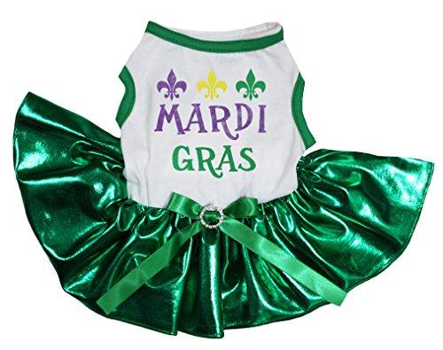 petitebelle Puppy Kleidung Hund Kleid Mardi Gras weiß TOP Bling Grün Tutu