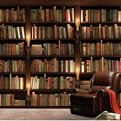 Syssyj Benutzerdefinierte Foto Retro 3D Sofa Tv Hintergrundbild Wandbild Für Zimmer Der Ältesten Wand Bücherregal Bücherregal-280X200CM (Abstract Bücherregal)