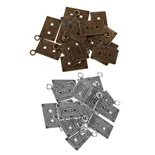 Baoblaze 30 Pcs Colgante de Collar de Cassette Coloridos Apto para Hacer Manualidades DIY