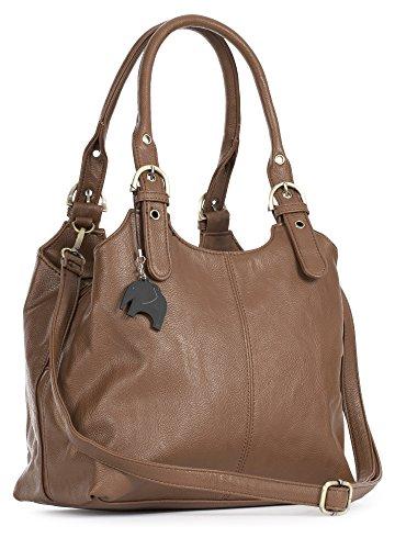 Big Handbag Shop BHSL Mehrfachtaschen Mittlere Größe Umhängetasche/Schultertasche für Frauen - Mit langem Schulterriemen und eine kleine Taschencharme (Dunkel Bräune (Plain S105))