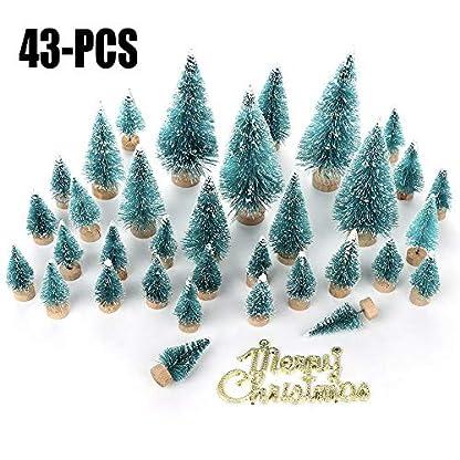 Mini-Weihnachtsbume-43-Stck-Miniatur-Kieferbume-mattierte-Sisalbume-mit-Holzsockel-Bume-Winterschnee-Ornamente-Tischbume-fr-Weihnachten-Party-DIY-Raumdekoration-und-Diorama-Modelle