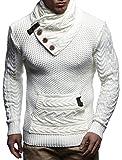 LEIF NELSON Herren Strick-Pullover |Strick-Pulli mit Schalkragen | Moderner Woll-Pullover Langarm-Sweatshirt mit Knöpfen Kleidung Männer