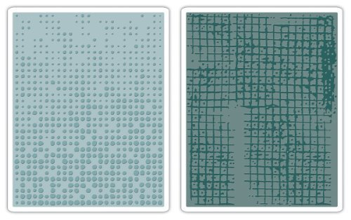 Sizzix Texture Fades Embossing Folders By Tim Holtz 2/Pkg-Dot Matrix & Gridlock by Sizzix - Tim Holtz Dots