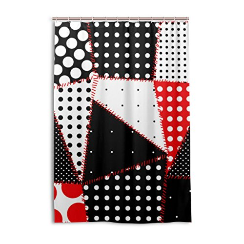 ALAZA Negro Blanco y Rojo de los Lunares y la Sutura Impresión de Línea de Cortina de Ducha DE 48 x 72 Pulgadas, Resistente al Moho y Resistente al Agua Decoración de poliéster Cortina de Baño