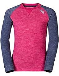 Odlo Camiseta L/S Revolution TW Warm Kids–Sangría de Marina New Melange
