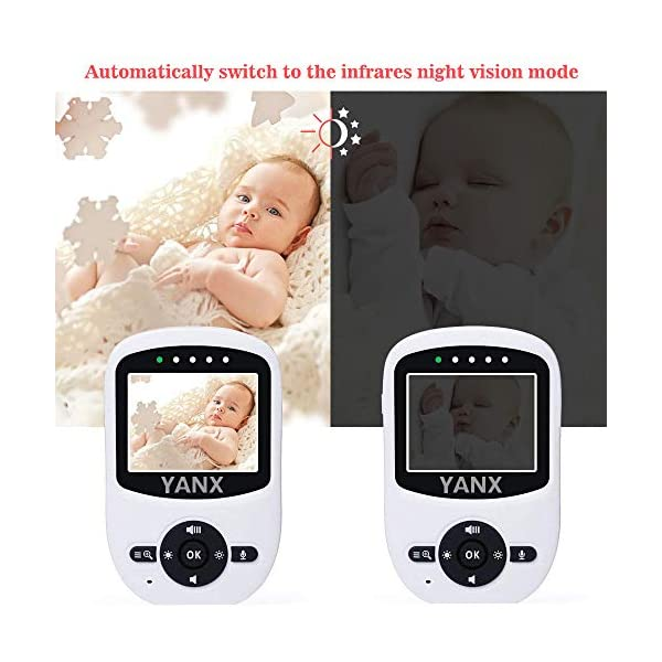"Video Baby Monitor, Rongyuxuan 2.4 GHz Digital Wireless 2 Way Baby Monitor with Temperature Monitor, 900ft Transmission Range, Night Vision, ECO Mode High Capacity Battery  2.4"" COLOR HD LCD SCREEN - High quality display, providing a crystal clear image. 2.4GHz wireless digital signal provides high definition and stable streaming, secure interference-free connection. Auto Infrared Night Vision - Rest assured knowing you'll see your baby day and night. EXCELLENT TWO-WAY TALKBACK - Rongyuxuan Baby Camera Monitor adopts enhanced lossless two-way audio, you are able to talk or sing to your baby when needed. It is convenient to sooth your baby from another room. Up to 900 feet (OPEN SPACE) with out-of-range warning. Rich Features - Room Temperature Monitoring with High/Low Temperature Alerts, Eco Mode Voice Activation, Sound Activated LED Indicators, Alarm/Timer Setting, 2x Digital Zoom with Digital Image Pan/Tilt option, Multi-Camera Expandability (up to four cameras), Lullabies, Manual Pan (360 degrees) & Tilt (70 degrees), Auto Scan View, Tabletop or Wall Mounting Options. 4"