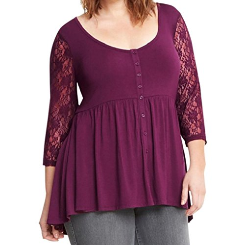 Bluse Damen Pullover T-shirt FORH Herbst Groß Größe 3/4 Spitzen Sleeve Langarmshirt beiläufige V-Ausschnitt Knöpfe Bluse lose Oberteile Mode Tunika MiniKleid tops (Lila, 6XL) (Sleeve 3/4 Bluse Lace)