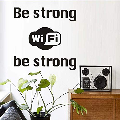 Luzhenyi Be Strong Wifi Logo Wall Sticker Shop Window Internet Wifi Vinyl Wall Decal Business Home Decoration Accessories 43X43Cm