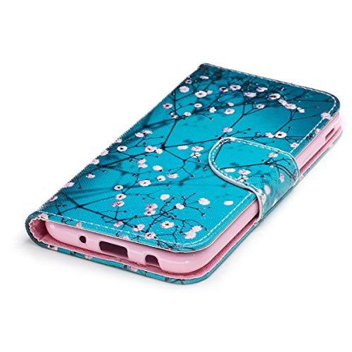 Custodia Galaxy J3 2017, ISAKEN Flip Cover per Samsung Galaxy J3 2017, Elegante borsa Bookstyle Design Flip Caso in Sintetica Ecopelle PU Pelle Protettiva Portafoglio Wallet Case Cover con Supporto di flower rosa